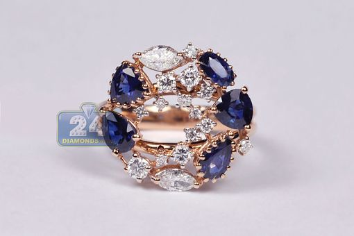 Custom Made Certified 18k Rose Gold 4.31 Ct Diamond Blue Sapphire Womens Ring
