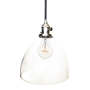 "Custom Made 8"" Clear Hand Blown Glass Bare Pendant Light- Nickel"