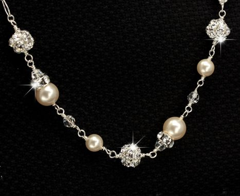 Custom Made Linked Pearl & Rhinestone Wedding Bracelet