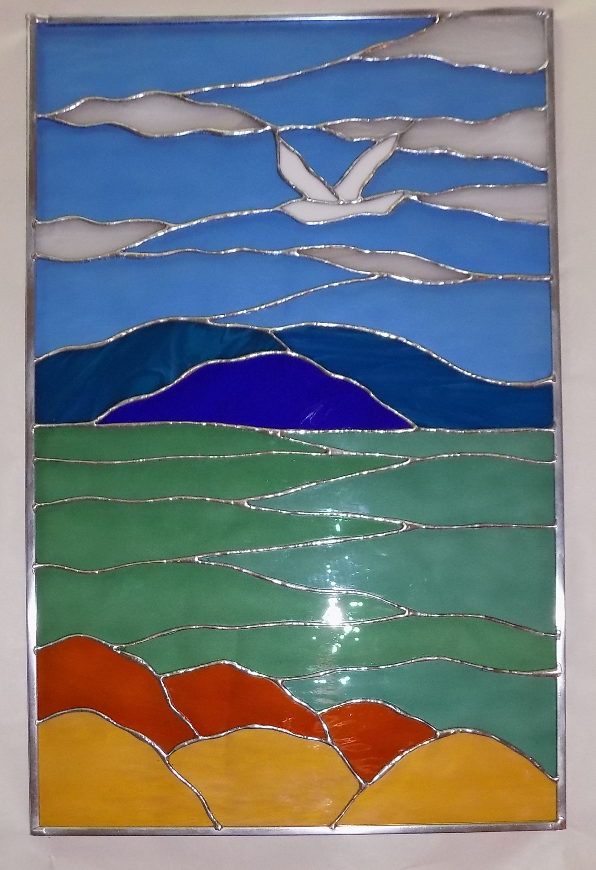 Custom Made Ocean And Seagull Stained Glass Window By