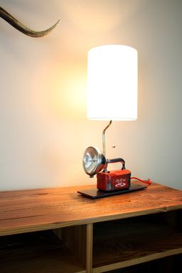 Custom Made Industrial Lamps // Repurposed Lighting // Refurbished Vintage // Red & Chrome