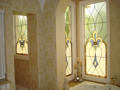 Custom Made Stained Glass Panels To Give Privacy At The Bottom And Yet Allow A  Semi-View Through The Tops