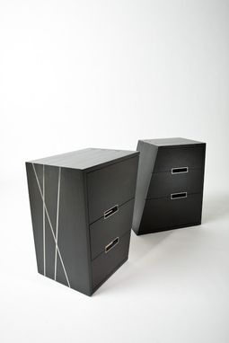 Custom Made Stainless Steel Inlaid Night Stands