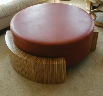 Custom Made Zebrawood And Leather Table