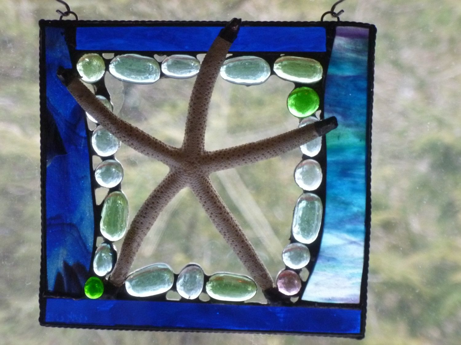 Handmade Shell Starfish Stained Glass Mixed Media Panel By