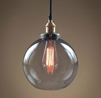 Custom Made Smoke Glass Big Pendant Hanging Lamp Vintage Copper Socket Globe Ceiling Pendant Lamp