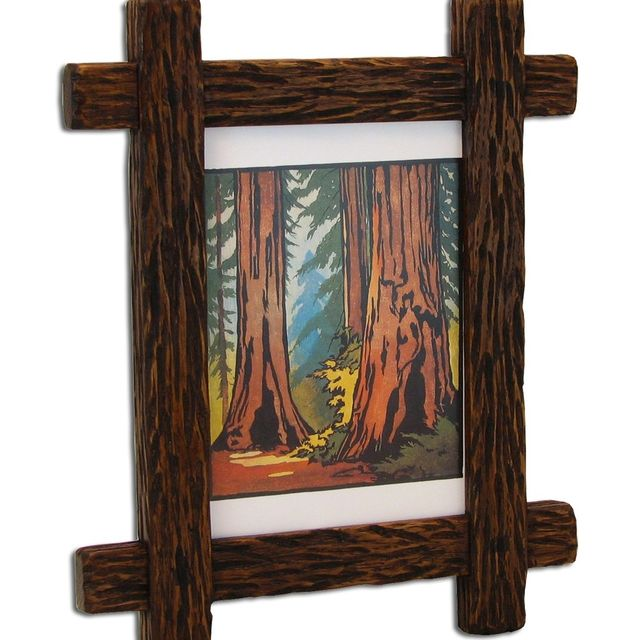Custom Made Carved Adirondack Rustic Picture Frame by Solid Wood ...