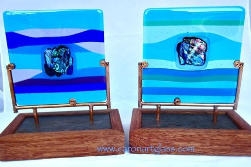 Custom Made Fused Glass Sculpture - I Kai, The Sea