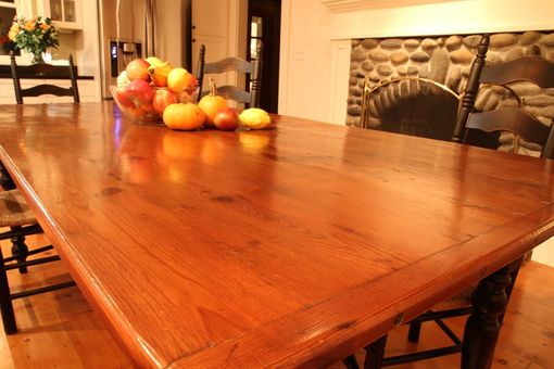 Custom Made Gorgeous Barn Wood Farm Table In Brown Cherry