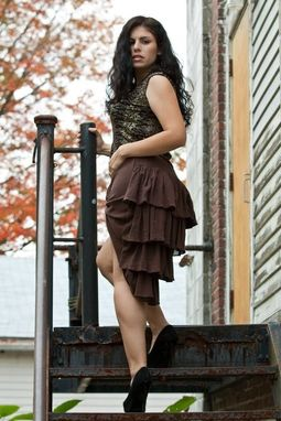Custom Made Multi-Ruffle Bustle Back Steampunk Skirt - Mixed Materials