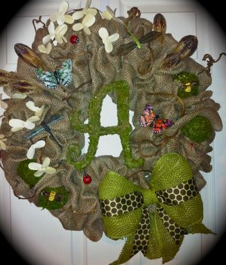 Custom Made Woodsy And Whimsical Burlap Wreath