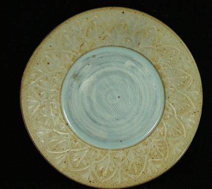 Custom Made White & Blue Serving Plate  With Elaborate Design