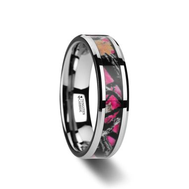 Custom Made Juliet Realistic Tree C Tungsten Carbide Wedding Band With Real Pink Oak Leaves - 6mm & 8mm