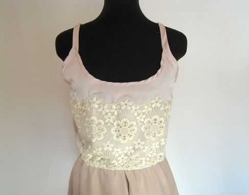 Custom Made Champagne Silk And Lace Dress