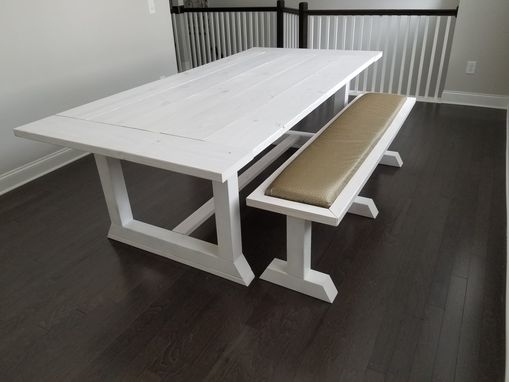 Custom Made All White Dining Room Farm Table With Matching Bench