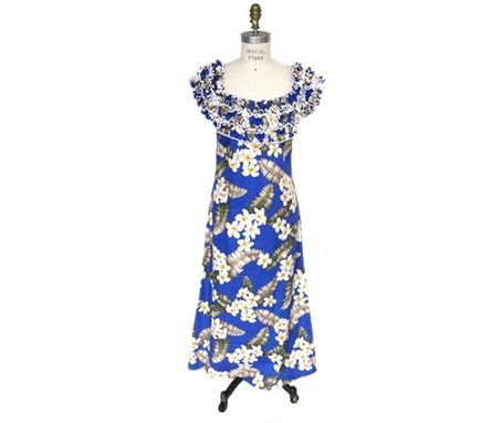 Custom Made Hawaiian Muumuu Dress With Ruffled Neck And Floral Print - Blue