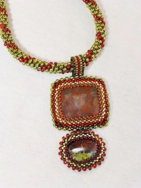 Custom Made Set - Transparent Red And Forest Green Kumihimo Necklace And Matching Earrings
