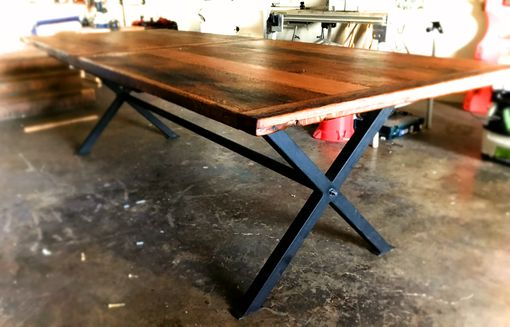 Custom Made Industrial Farmhouse Reclaimed Solid Oak Dining Table With Black Metal Base