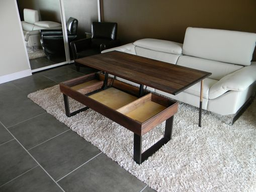 Custom Made Terry's Lift -Top, Pop-Up Walnut And Wenge Transformer Coffee Table