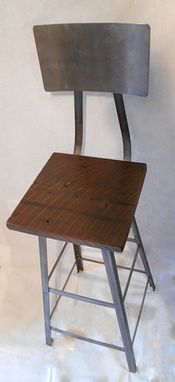 Custom Made Industrial Stool With Reclaimed Wooden Seats