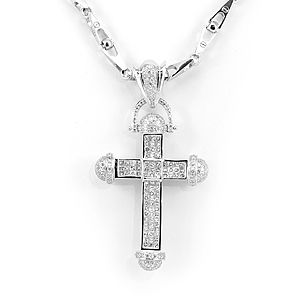 Custom Made Elegant Cross Diamond Pendant In 14k White Gold, Cross Pendant, Men's Pendant