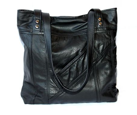 Custom Made Upcycled Leather Tote - The Uptown Tote - Small