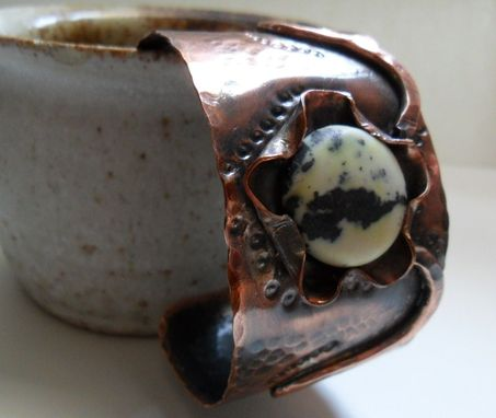 "Custom Made Hammered Copper Cuff Bracelet With Yellow Turquoise Cabochon ""Cyber Monday''"