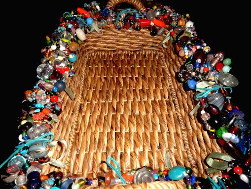 Custom Made Large Beaded Tray Basket With Handmade Glass Beads Blue Suede Cording