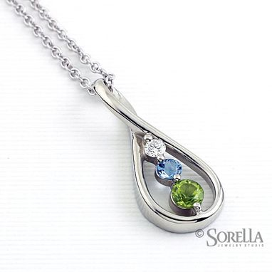 Custom Made Teardrop Birthstone Necklace In 10k White Gold