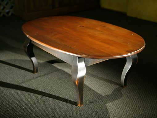 Custom Made Oval Wood Coffee Table With Black French Legs