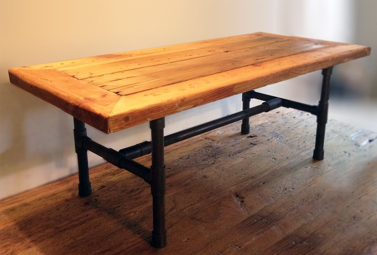 Reclaimed Wood Table ~ Buy a handmade reclaimed wood pipe leg coffee table made