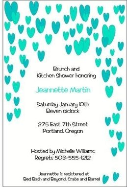 Custom Made Cool Raining Hearts Bridal Shower Invite