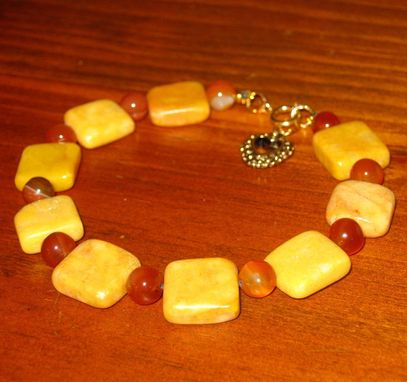 Custom Made Honey Gold Marble And Carnelian Bracelet - Free Shipping