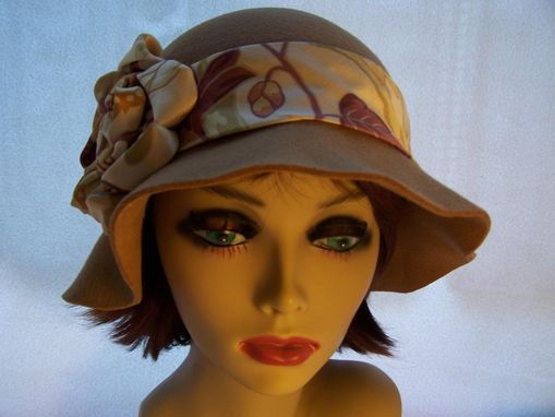 Custom Made Cloche With Satin Flower In Brown Wool Felt