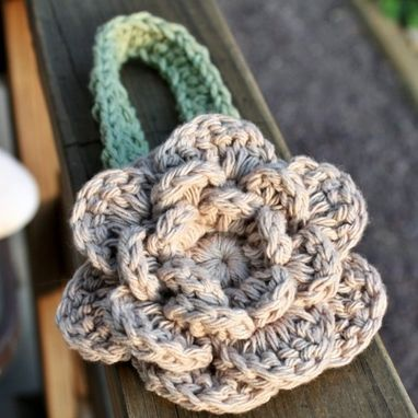 Custom Made Crochet Baby Headband With Flower - Green And Beige