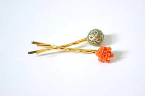 Custom Made Bridesmaid And Flower Girl Gift -Ornate Orange And Green Duo Hair Pins