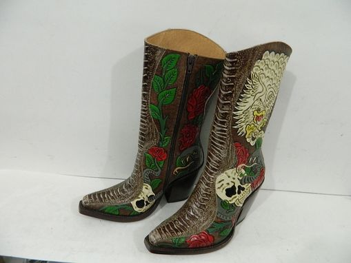 Custom Made Hand Tooled Skull Design Boots Or Any Other Design