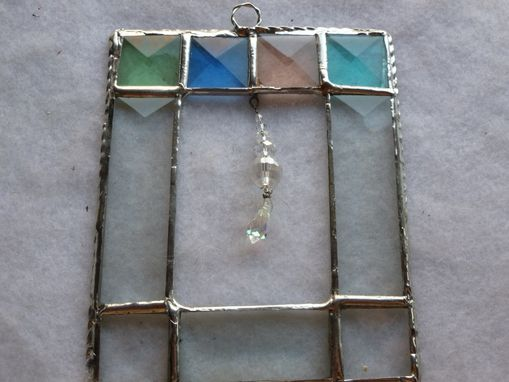 Custom Made Stained Glass Art With Multicolored Bevels And Suspended Crystals