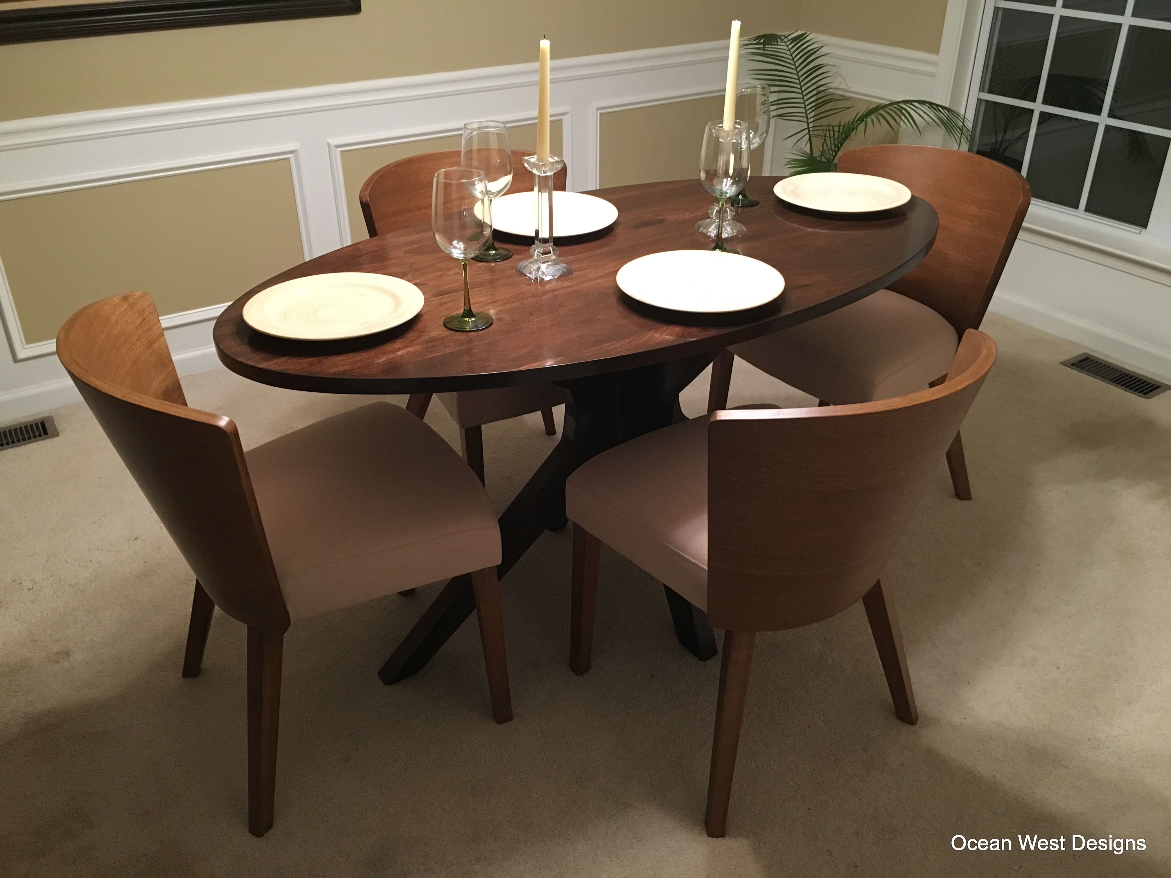 Hand Made Montego Modern Oval Walnut Dining Table By Ocean West Designs Custommade Com