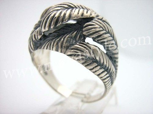 Custom Made Sterling Silver Feather Ring Feathers