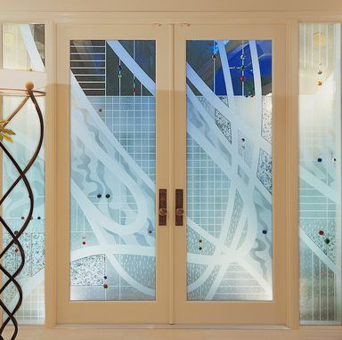 Custom Made Etched Entry With Contemporary Motif