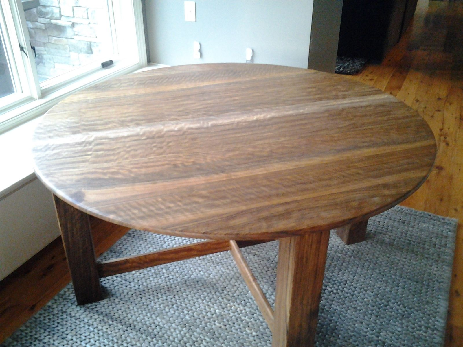 Hand made 5 ft round dining table by higgins custom for Unique round kitchen tables