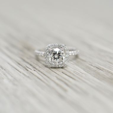 Custom Made Cushion Brilliant In A Petite French Pavé Cushion Halo Polished Stem Engagement Ring In White