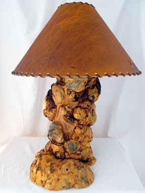 Custom Made Handmade Wooden Burl Pine Rustic Log Table Lamp Country Home Decor