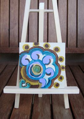 "Custom Made Abstract Flower Painting Original 4""X4"" Purple Blue Brown By Devikasart"