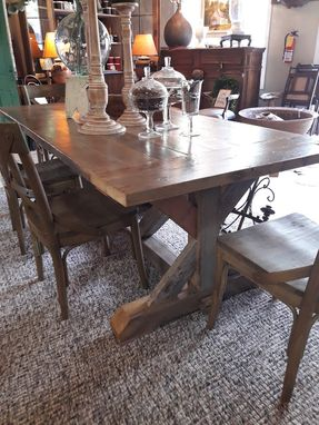 Custom Made Reclaimed Fir And Pine Trestle Table