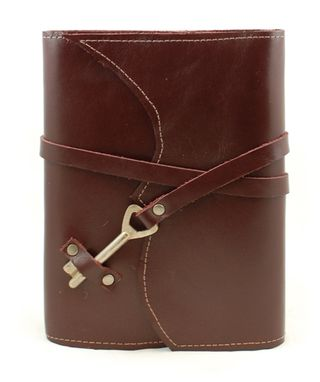 Custom Made Nottinghill Refillable Leather Journal With Antique Key – Ox-Blood Dark Red