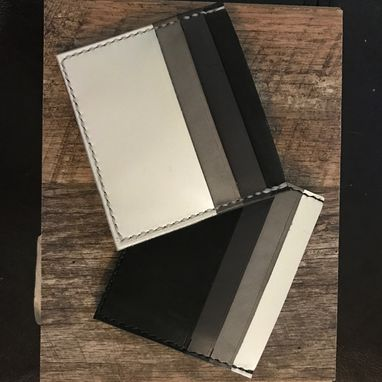 Custom Made Leather Card Wallets With Center Pocket