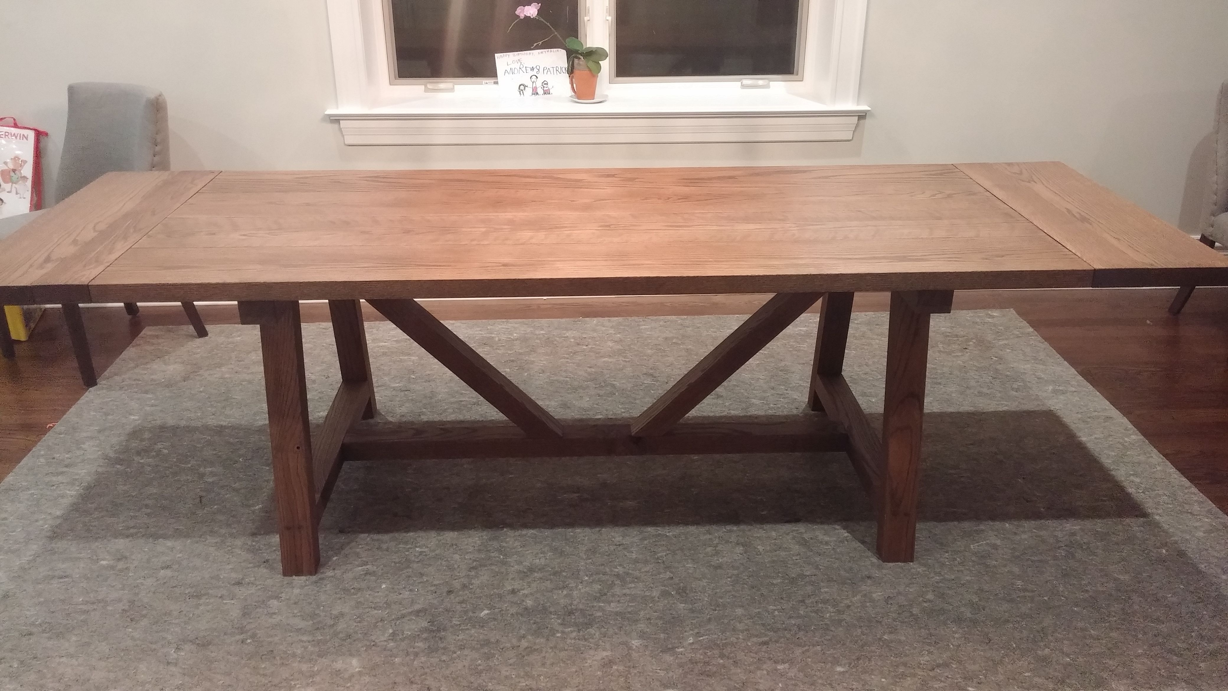 Custom Made Solid Oak Farmhouse Trestle Dining Table