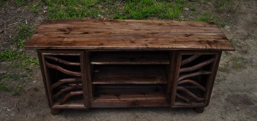 Custom Made Rustic Walnut Wood Tv Media Entertainment Center Sideboard Buffet Table Log Cabin Furniture